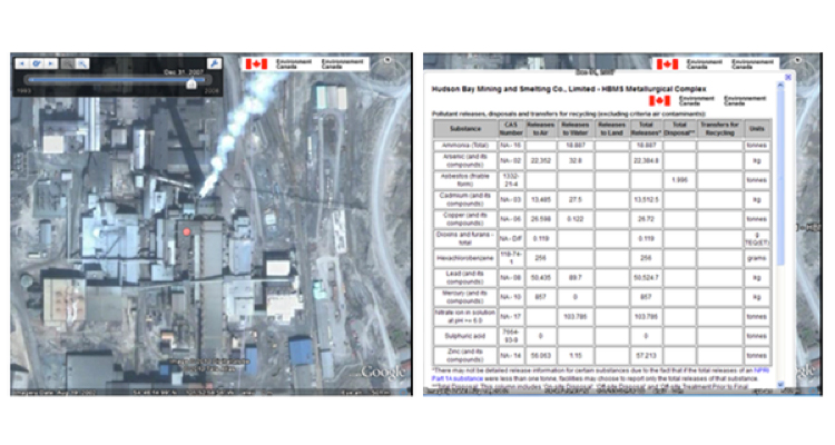 Canada: Users can type city name in Google Earth and see all facilities reporting pollutants